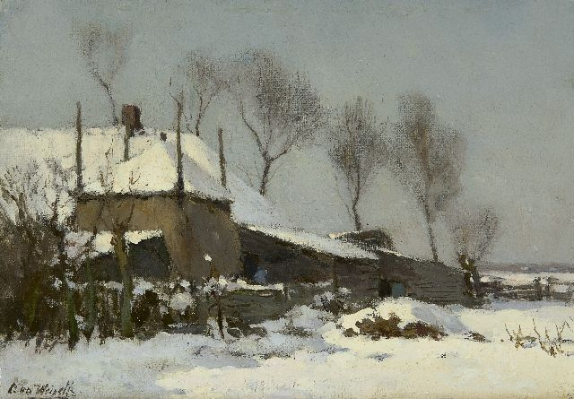 Chris van der Windt | A farm in the snow, oil on canvas laid down on panel, 21.5 x 29.7 cm, signed l.l.