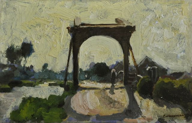 Cornelis Vreedenburgh | Drawbridge in Noorden, oil on panel, 16.0 x 24.7 cm, signed l.r. and painted ca. 1902-1906
