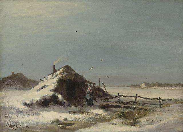 Louis Apol | A winter landscape, oil on canvas, 47.2 x 64.2 cm, signed l.l. and painted ca. 1871-1873