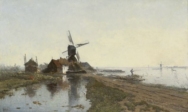Paul Joseph Constantin Gabriel | The mill path near Kortenhoef, with windmill De Lelie, oil on panel, 49.7 x 82.2 cm, signed l.l.