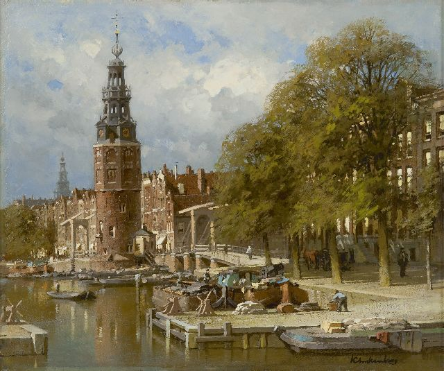 Karel Klinkenberg | The Montelbaanstoren near the Kalkmarktsluis, Amsterdam, oil on canvas, 39.3 x 47.3 cm, signed l.r.