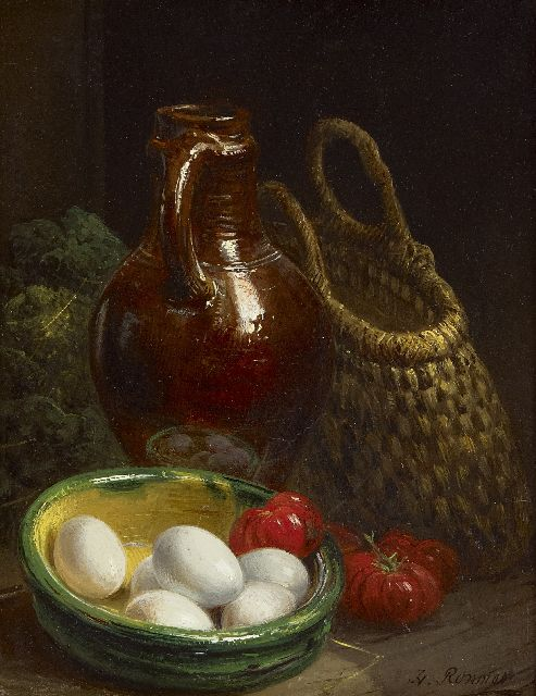Henriette Ronner-Knip | A still life with eggs and a jug, oil on panel, 18.9 x 14.6 cm, signed l.r.
