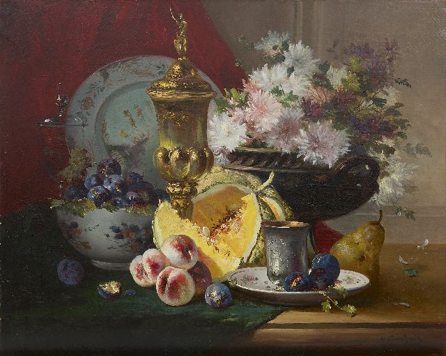 Eugène-Henri Cauchois | A still life with crockery, flowers and fruit, oil on canvas, 63.4 x 77.3 cm, signed l.r.