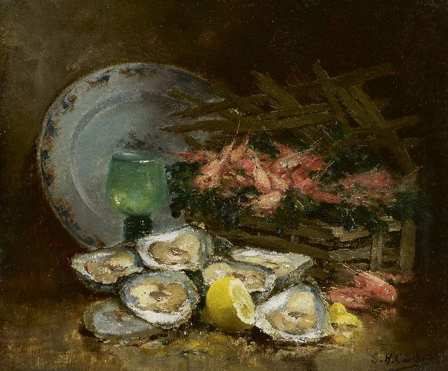 Eugène-Henri Cauchois | A still life with oysters, oil on canvas, 38.1 x 46.0 cm, signed l.r.