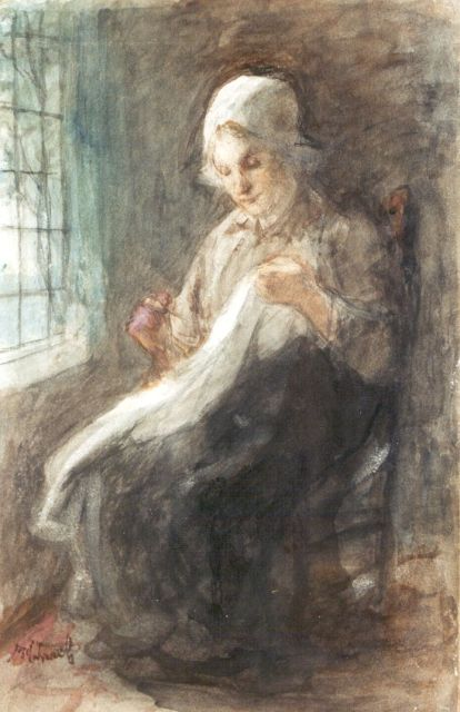 Jozef Israëls | The mending, charcoal and watercolour on paper laid down on board, 34.4 x 22.2 cm, signed l.l.