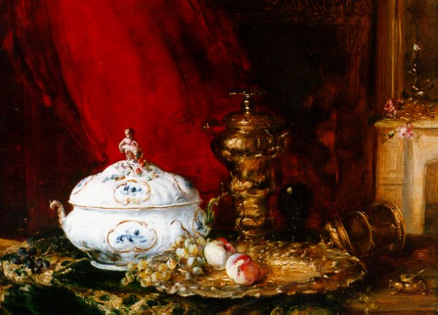 Antoine Vollon | A still life with a porcelain tureen, oil on canvas, 38.8 x 47.0 cm, signed l.l.