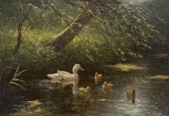 Constant Artz | Duck with ducklings in a ditch, oil on canvas, 65.4 x 95.4 cm, signed l.r.