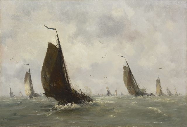 Smith H.  | Sailing boats from Urk leaving harbour, oil on canvas 72.5 x 107.3 cm, signed l.l.