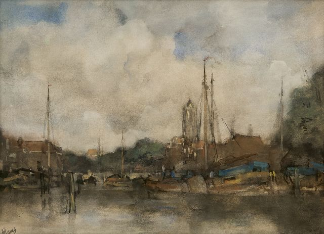 Jacob Maris | A view of the inner harbour of  Utrecht and the Dom tower, watercolour on paper, 42.0 x 57.4 cm, signed l.l.