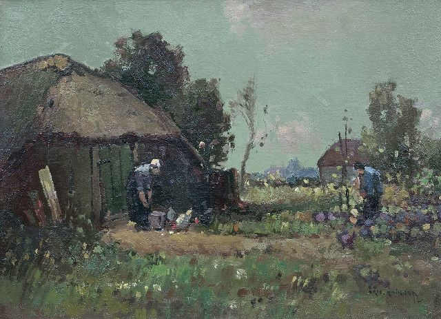 Aris Knikker | Farmyard, oil on canvas, 26.2 x 35.4 cm, signed l.r.