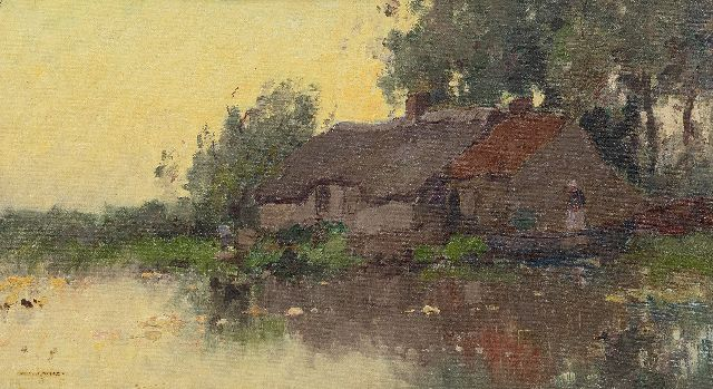 Knikker A.  | Farm at the water's edge, oil on canvas laid down on panel 25.1 x 45.0 cm, signed l.l.