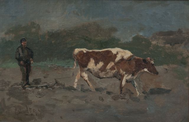Paul Joseph Constantin Gabriel | A ploughing farmer, oil on canvas laid down on panel, 22.3 x 33.0 cm, signed l.l. and dated '92