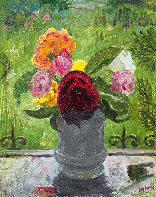 Harm Kamerlingh Onnes | Roses on a window sill, oil on panel, 30.5 x 24.6 cm, signed l.r. with monogram and dated '64