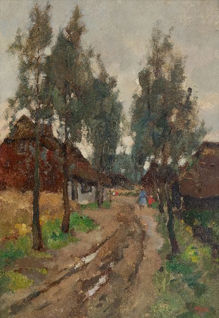Noltee B.C.  | A village la with figures, oil on canvas 50.2 x 35.1 cm, signed l.r.