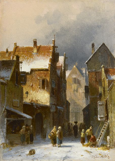 Charles Leickert | A busy street in winter, oil on panel, 27.1 x 19.3 cm, signed l.r.