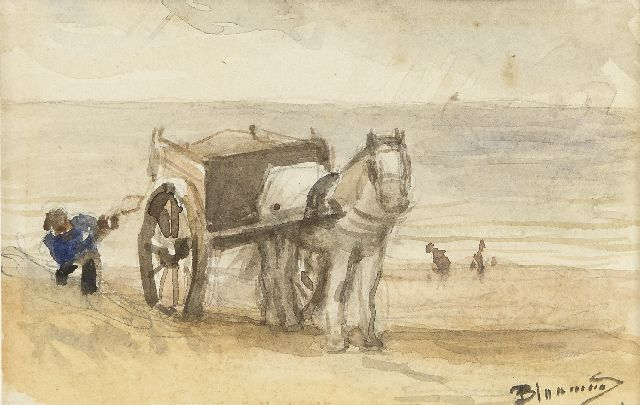 Bernard Blommers | Shell fisher near Katwijk, watercolour on paper, 9.0 x 13.9 cm, signed l.r.