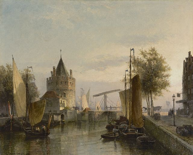 Cornelis Christiaan Dommelshuizen | A view of the Schreierstoren from the Geldersekade, Amsterdam, oil on canvas, 52.7 x 65.0 cm, signed l.l. and dated 1890