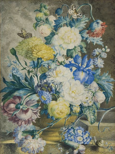 Wijnen O.  | A flower still life, watercolour on paper 40.6 x 30.1 cm, signed l.r. and dated 1778