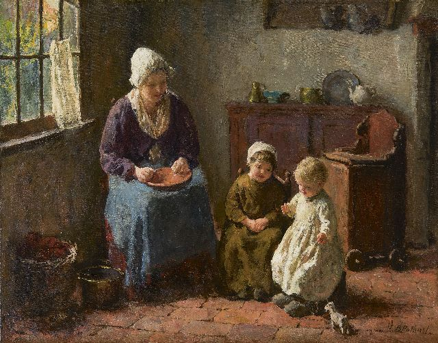 Bernard Pothast | Motherly love, oil on canvas, 40.0 x 50.0 cm, signed l.r.