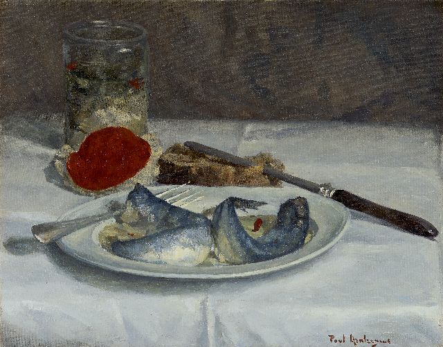 Paul Arntzenius | A still life with herring, oil on canvas, 31.4 x 39.2 cm, signed l.r.