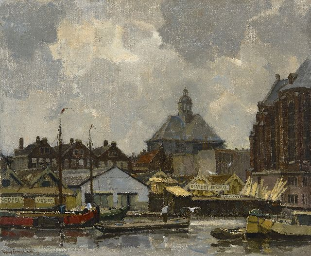 Frans Langeveld | A view of the Wittenburgergracht in Amsterdam, with the Oosterkerk, oil on canvas, 50.9 x 60.6 cm, signed l.l. and dated '25