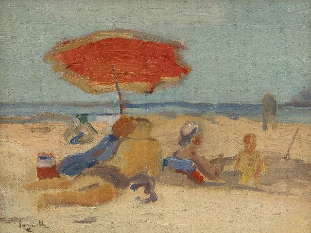 Alfred Smith | Beach scene, oil on canvas laid down on board, 19.5 x 25.5 cm, signed l.l.