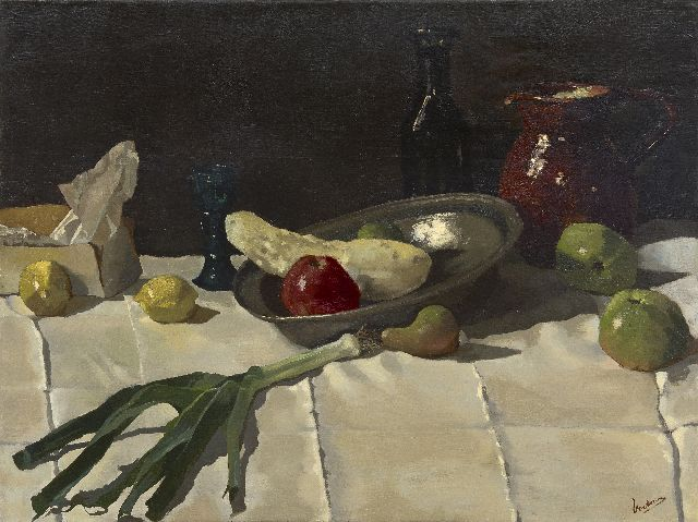 Lucas Verkoren | A still life with a pewter plate, oil on canvas, 75.0 x 100.0 cm, signed l.r.