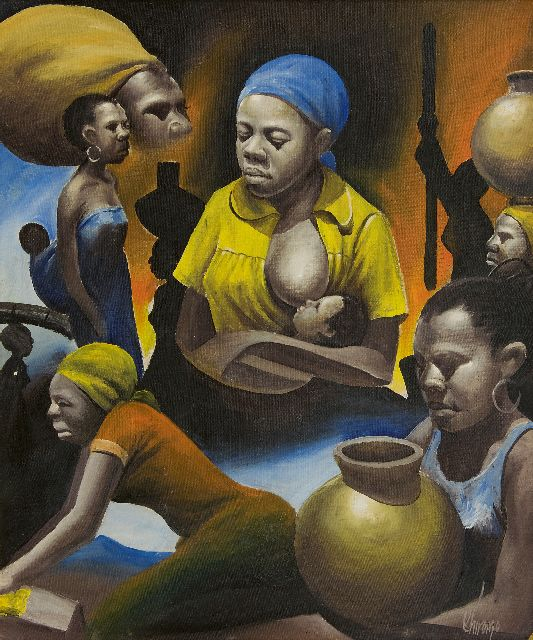 Chiromo K.  | African women, oil on canvas 54.6 x 45.5 cm, signed l.r. and dated on the reverse '79