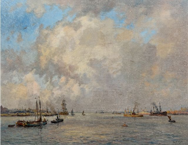 Evert Moll | Navigation under a high cloudy sky, oil on canvas, 72.2 x 92.7 cm, signed l.r.