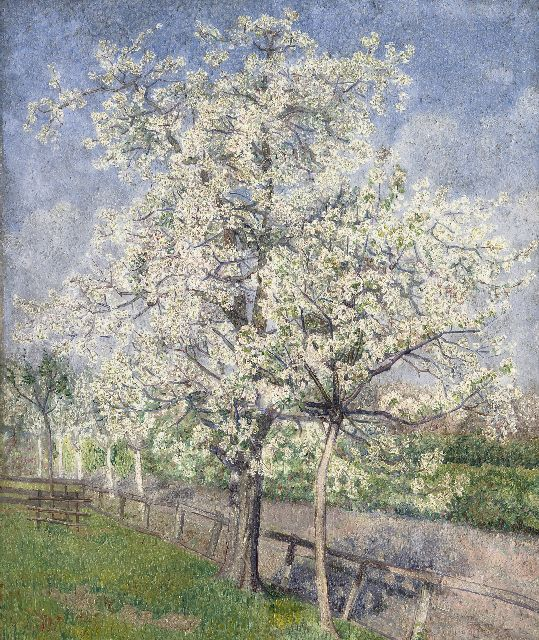 Nieweg J.  | Trees in bloom along a fence, oil on canvas 60.0 x 50.1 cm, signed l.r. with monogram and dated '22