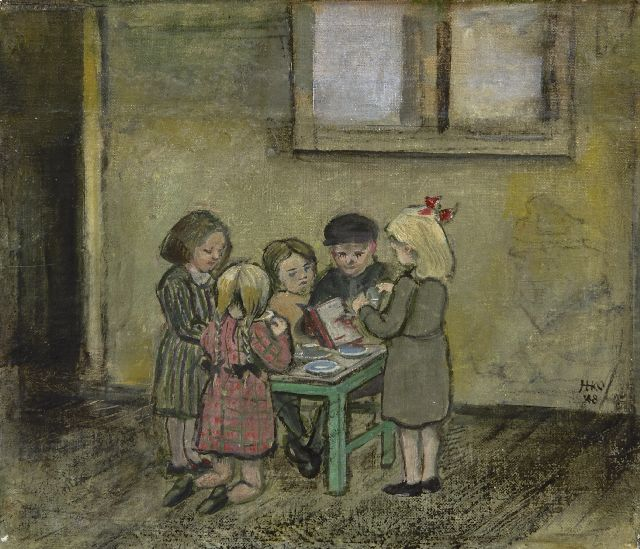 Harm Kamerlingh Onnes | Children playing tea time, oil on canvas laid down on panel, 19.2 x 22.7 cm, signed c.r. with monogram and dated '48
