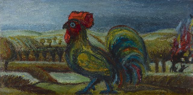 Kees Andréa | Rooster, oil on panel, 20.0 x 40.0 cm, signed l.r.
