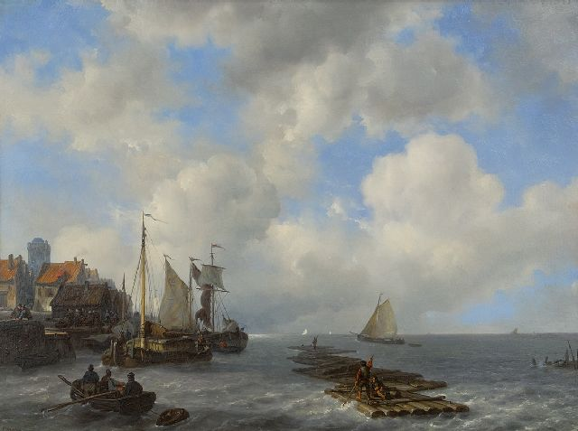 Meijer J.H.L.  | Moored sailingvessels by a quay, oil on panel 46.8 x 61.8 cm, signed l.l. and dated 1841