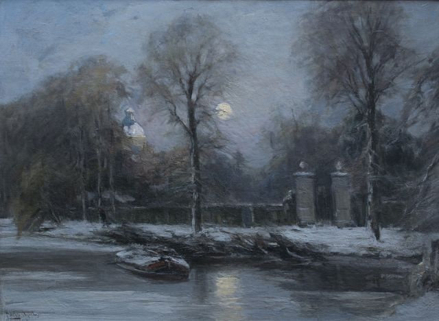 Louis Apol | The gate of Huis ten Bosch, The Hague, in winter, oil on canvas, 55.3 x 76.3 cm, signed l.l.