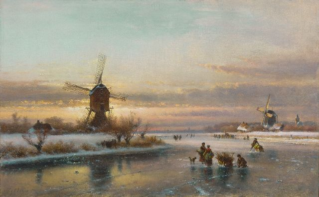 Lodewijk Johannes Kleijn | A winter landscape with skaters by a windmill, oil on canvas, 50.1 x 80.0 cm, signed l.l.