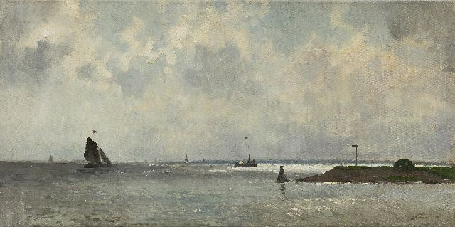Cornelis Vreedenburgh | Jetty under a Dutch cloudy sky, oil on canvas, 29.8 x 60.3 cm