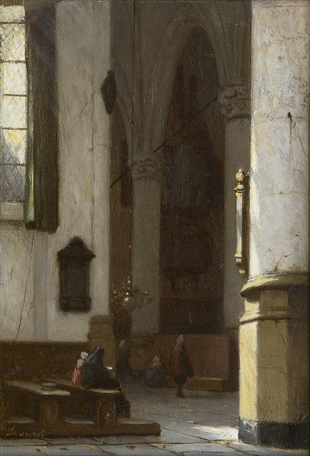 Jan Jacob Schenkel | Interior of the Hooglandse Church in Leiden, oil on panel, 21.4 x 15.1 cm, signed l.l.