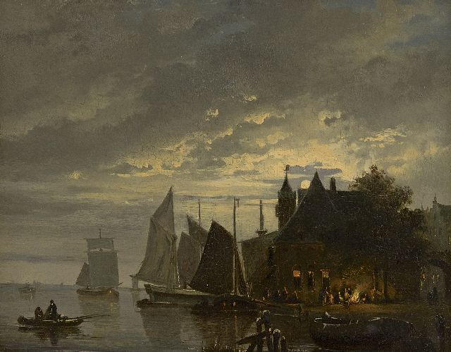 Cate H.G. ten | Moored sailing vessels by moonlight, oil on panel, 25.1 x 32.0 cm