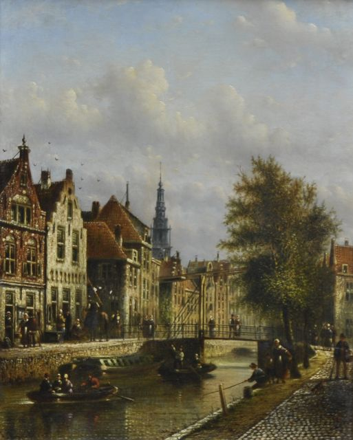 Johannes Franciscus Spohler | A view in Amsterdam with the tower of the Zuiderkerk, oil on panel, 26.9 x 21.2 cm, signed l.l.