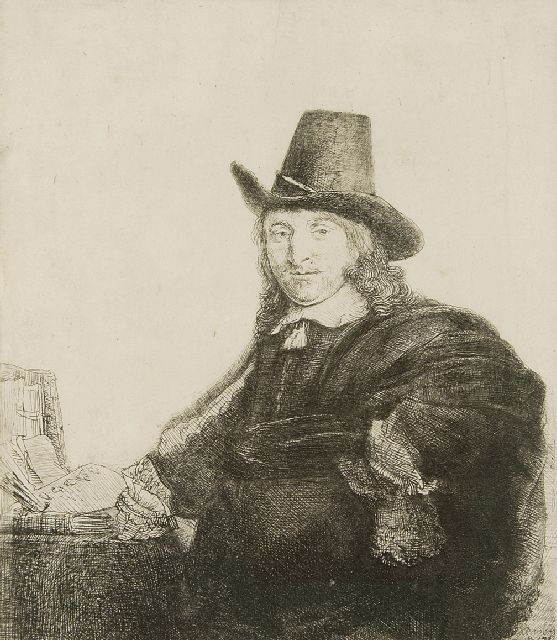 Rembrandt (Rembrandt Harmensz. van Rijn) | The painter Jan Asselijn, also called 'Krabbetje', etching, 19.2 x 16.4 cm, signed l.r. in the plate