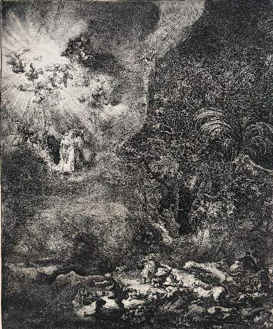 Rembrandt (Rembrandt Harmensz. van Rijn) | The Angel appearing to the Shepherds, etching, 26.2 x 21.7 cm, signed l.r. and dated in the plate 1634
