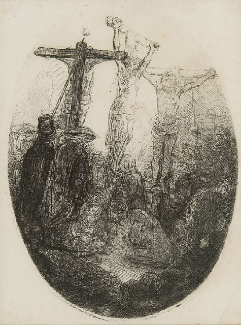 Rembrandt (Rembrandt Harmensz. van Rijn) | Christ crucified between the two thieves, etching, 13.3 x 10.4 cm