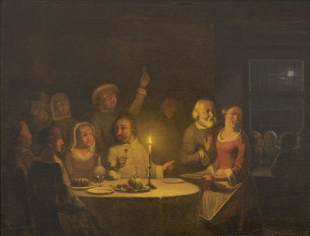 Pieter Gerardus Sjamaar | A merry company by candlelight, oil on panel, 21.9 x 28.4 cm, signed l.r.