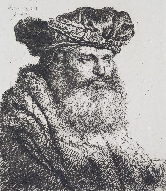 Rembrandt (Rembrandt Harmensz. van Rijn) | Bearded nan in a velvet cap with a jewel clasp, etching on paper, 9.5 x 8.2 cm, signed u.l. in the plate and dated 1637 in the plate