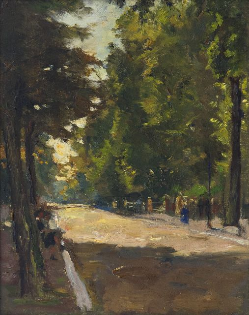 Noltee B.C.  | Strolling in the parc, oil on canvas 25.3 x 20.3 cm