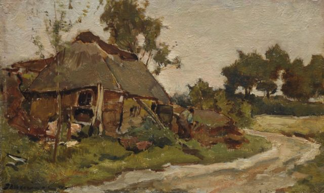 Johannes Evert Hendrik Akkeringa | Landscape in Heeze, oil on paper laid down on panel, 15.8 x 26.2 cm, signed l.l.
