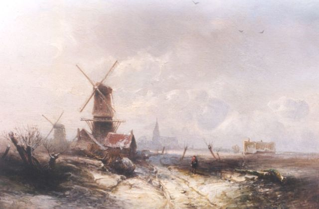 Pieter Kluyver | A winter landscape with windmills, oil on panel, 19.5 x 27.3 cm, signed l.l.
