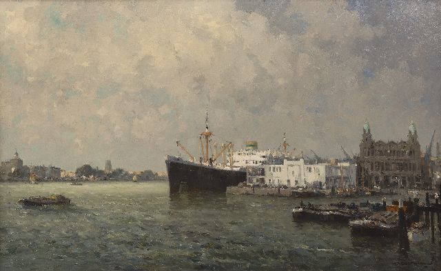 Gerard Delfgaauw | The Nieuwe Maas near Rotterdam with the HAL building, oil on canvas, 60.5 x 100.4 cm, signed l.r.
