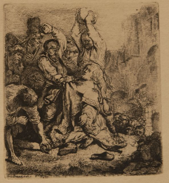 Rembrandt (Rembrandt Harmensz. van Rijn) | The stoning of St. Stephen, etching on paper, 9.5 x 8.5 cm, signed l.l. in the plate and dated 1635 in the plate