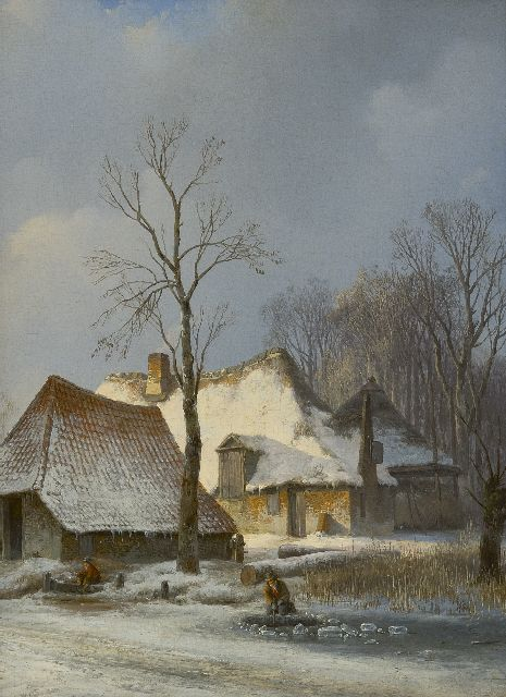 Andreas Schelfhout | A farm in winter with a skater and an angler, oil on panel, 30.8 x 23.0 cm, painted ca. 1825